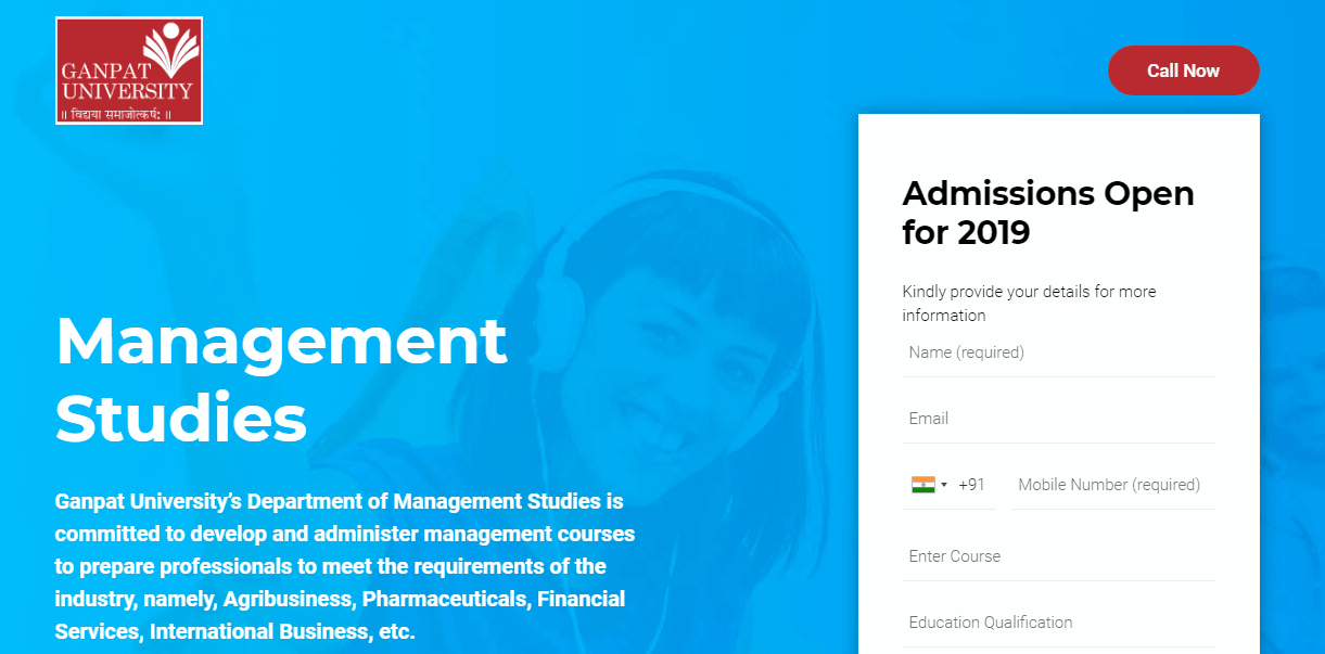 Ganpat University Course Landing Page